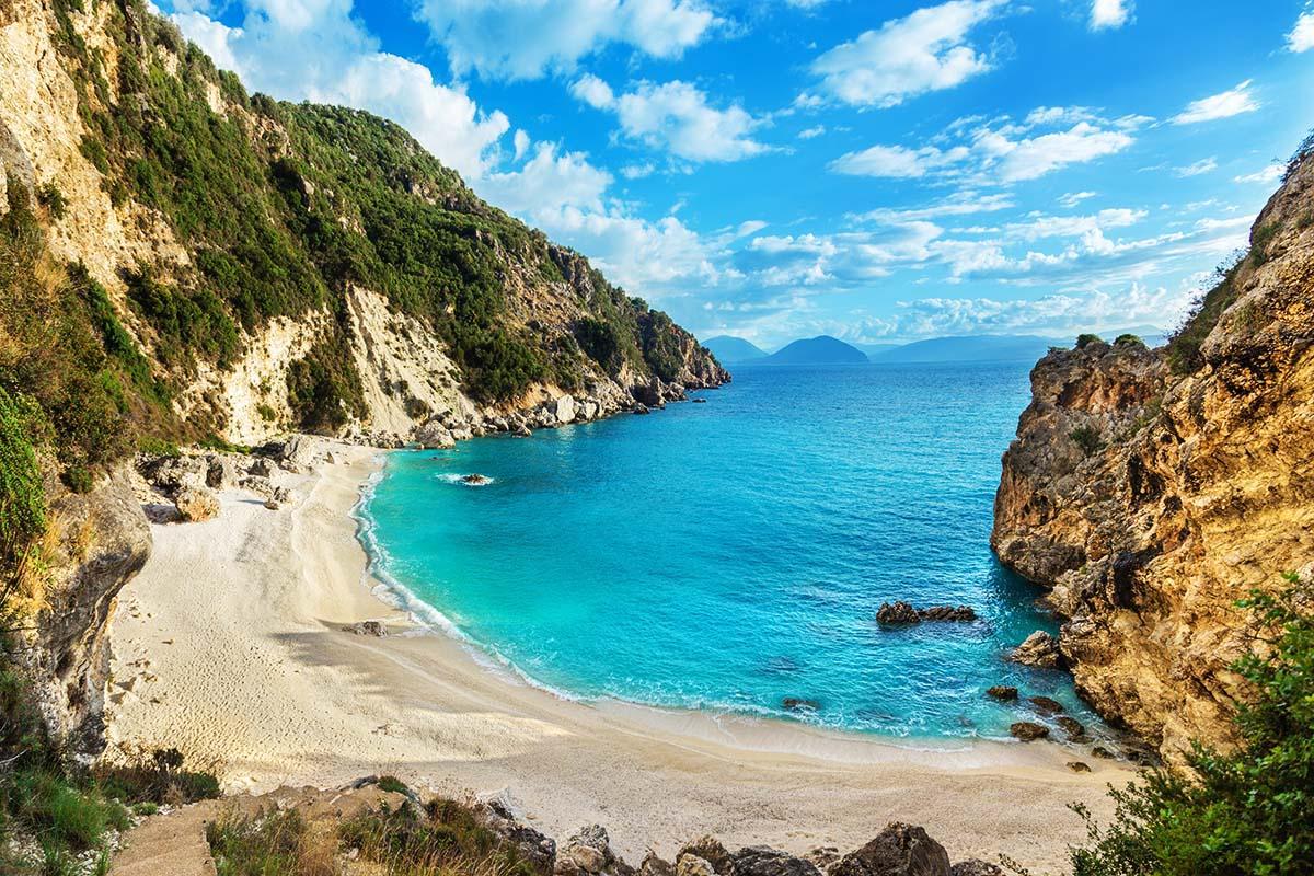Agiofili Beach with crystal clear azur sea, panoramic view of Empty Greek beach, lefkada island, Greece
